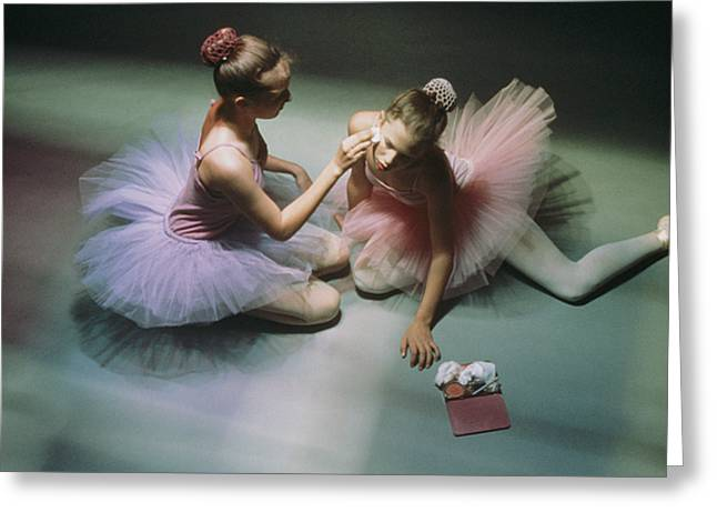Ballerinas Get Ready For A Performance Greeting Card