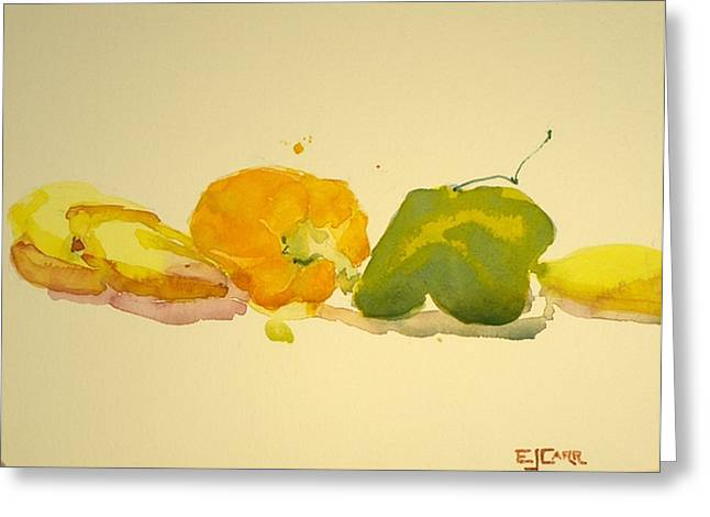 Bananas And Peppers Line Up Greeting Card by Elizabeth Carr