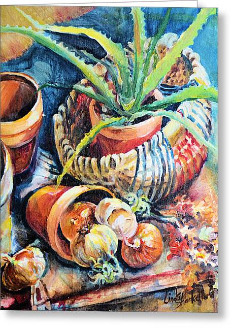Greeting Card featuring the painting Baskets by Linda Shackelford