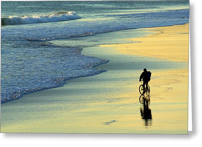 Beach Biker Greeting Card by Carlos Caetano