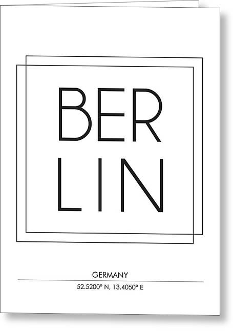 Berlin City Print With Coordinates Greeting Card