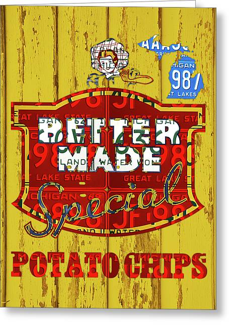 Better Made Potato Chips Michigan License Plate Art Greeting Card by Design Turnpike