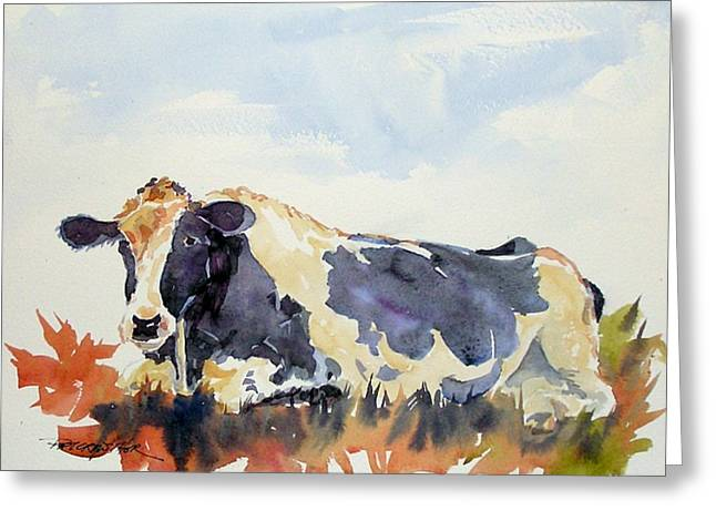 Greeting Card featuring the painting Black And White by Pat Crowther
