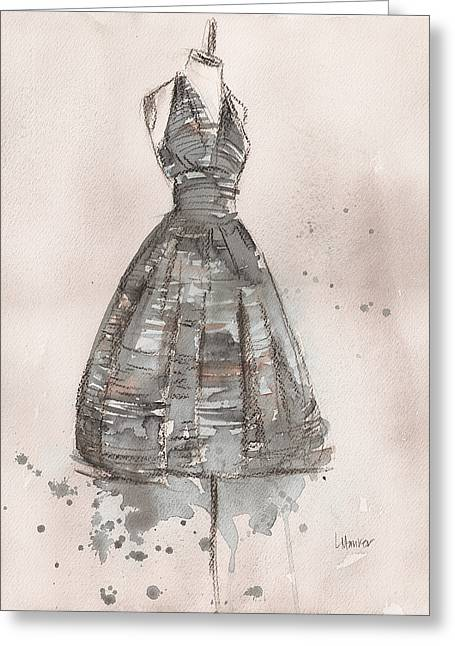 Black And White Striped Dress Greeting Card by Lauren Maurer