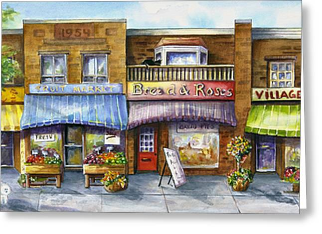 Greeting Card featuring the painting Bloorwest Village  by Margit Sampogna