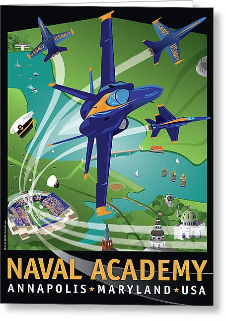 Blue Angels Over Usna Greeting Card