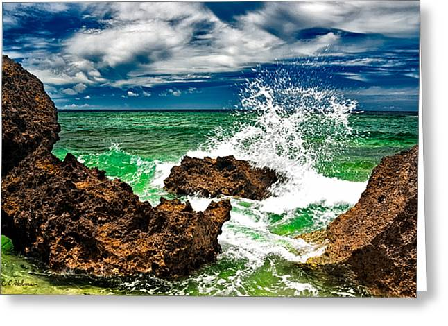 Blue Meets Green Greeting Card by Christopher Holmes