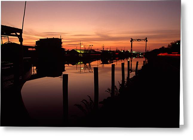 Boats And Houses At Sunset Greeting Card