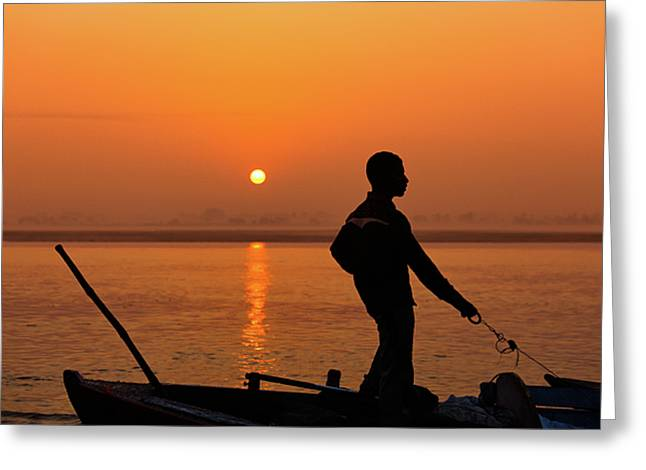 Boatsman On The Ganges Greeting Card