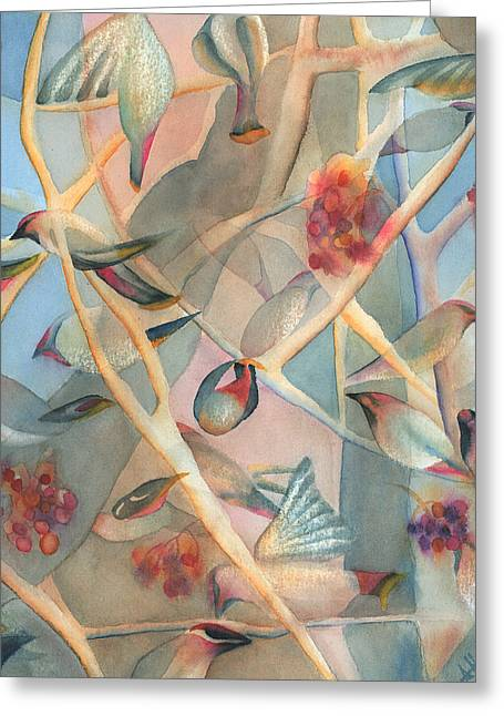 Bohemian Waxwings Greeting Card by Anne Havard