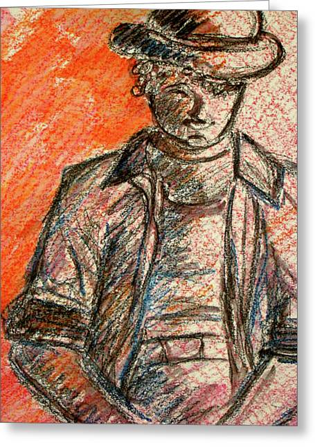 Greeting Card featuring the painting Boy In Red by Cathie Richardson