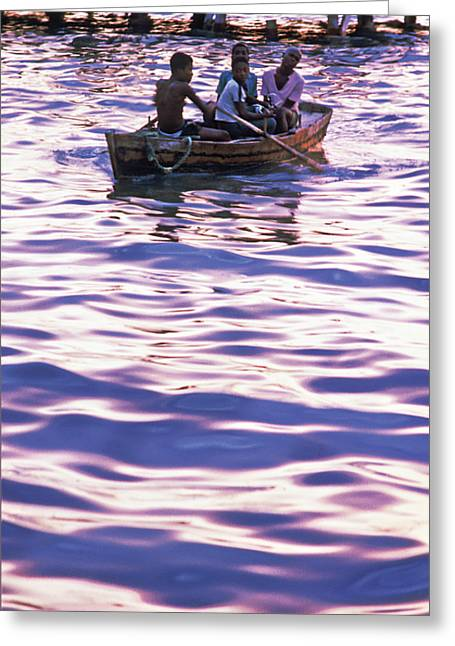 Boys On Boat Greeting Card