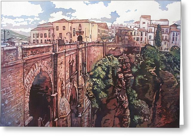 Bridge To Ronda Greeting Card by Leslie Redhead