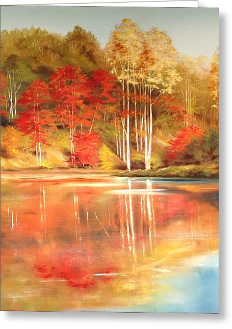 Brook's Pond Greeting Card by Diana  Tyson