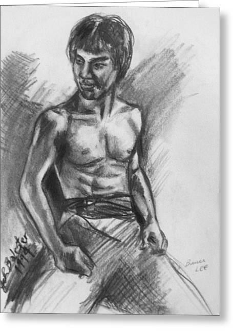 Bruce Lee Greeting Card by Jamey Balester