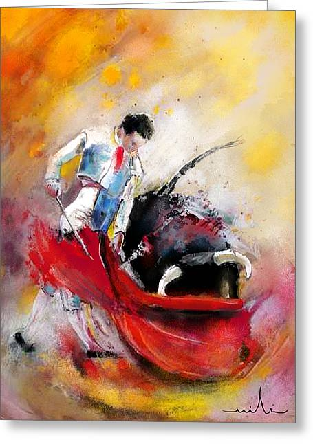 Bullfight 73 Greeting Card by Miki De Goodaboom