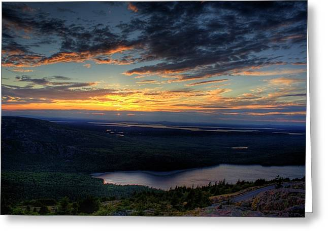 Cadillac Mountain Sunset I Hdr Greeting Card