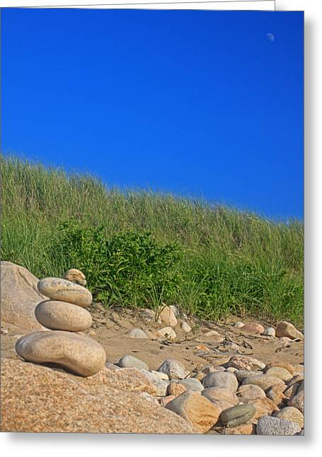 Cairn Dunes And Moon Greeting Card