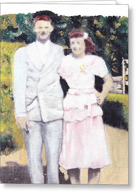 Caits Mom And Dad Greeting Card by David Poyant
