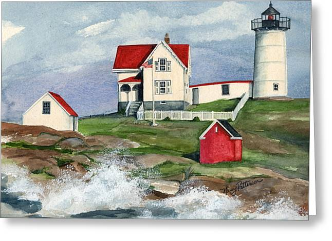 Cape Neddic Lighthouse  Greeting Card by Nancy Patterson