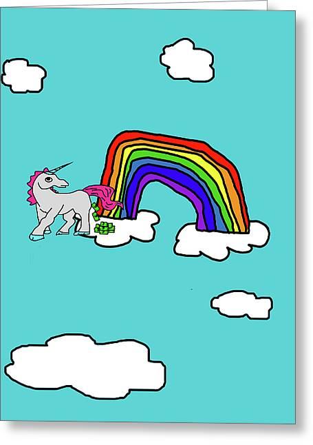 Cash Crap Unicorn Greeting Card by Jera Sky