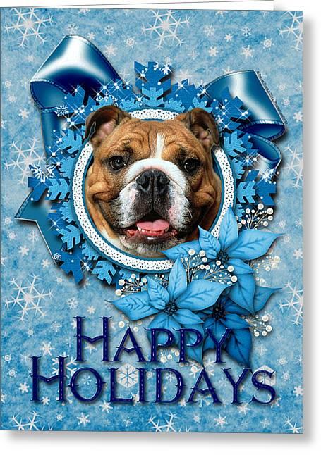 Christmas - Blue Snowflakes Bulldog Greeting Card by Renae Laughner