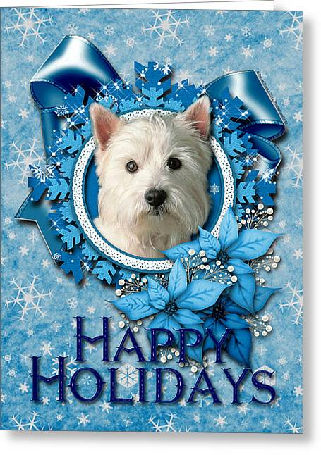 Christmas - Blue Snowflakes West Highland Terrier Greeting Card by Renae Laughner