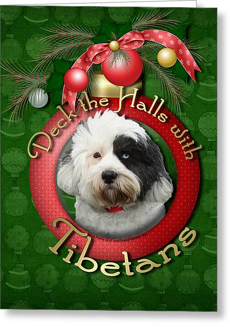 Christmas - Deck The Halls With Tibetans Greeting Card by Renae Laughner