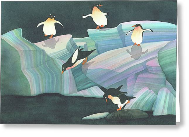 Christmas Penguins Greeting Card by Anne Havard