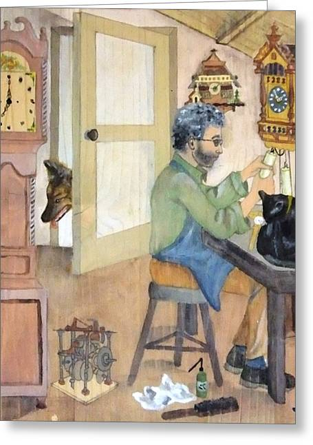 Clockmaker 1 Greeting Card by Annemeet Hasidi- van der Leij