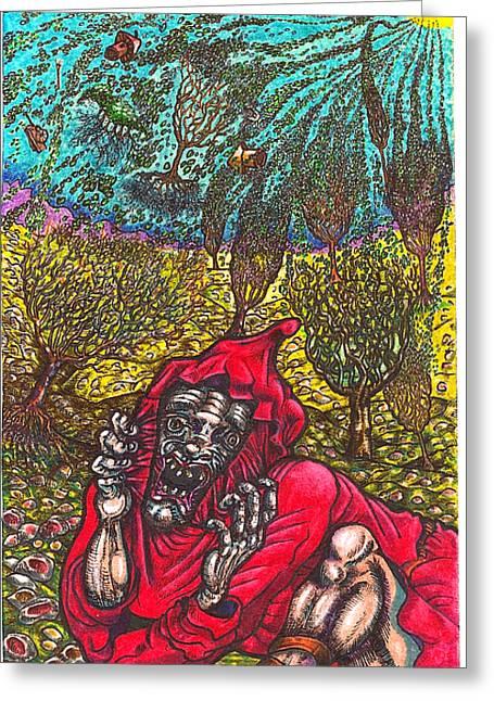 Close Encounter With A Dragon Greeting Card by Al Goldfarb