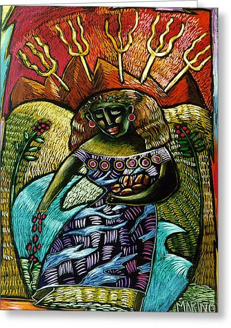Coffee Goddess Greeting Card by Angelina Marino