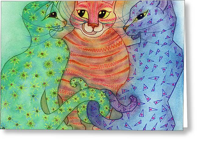Colorful Cats Greeting Card by Anne Havard