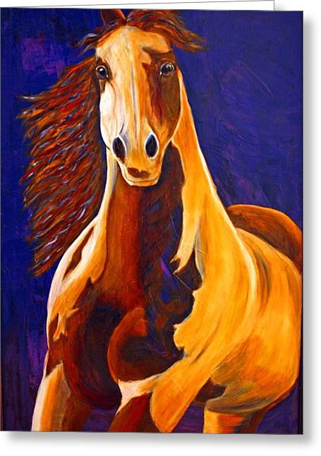 Greeting Card featuring the painting Contemporary Horse Painting Painted Sensation by Jennifer Godshalk