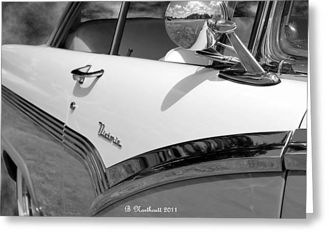 Creative Chrome - 1956 Ford Fairlane Victoria Greeting Card by Betty Northcutt