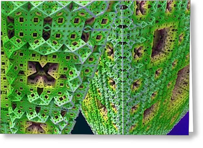 Cubes In Green Greeting Card by Ron Bissett
