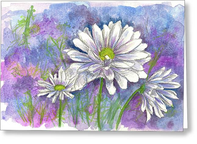 Greeting Card featuring the painting Daisy Three by Cathie Richardson