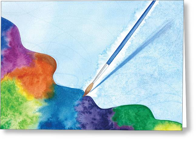 Dancing Paintbrush Greeting Card by Debi Hammond