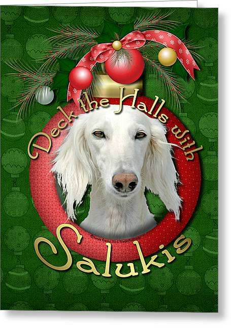 Deck The Halls With Salukis Greeting Card by Renae Laughner