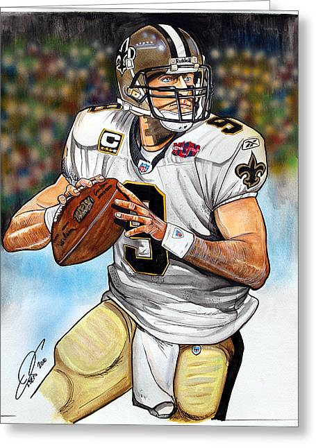 Drew Brees Greeting Card by Dave Olsen