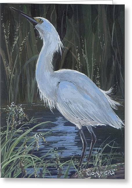 Egret Greeting Card by Peggy Conyers
