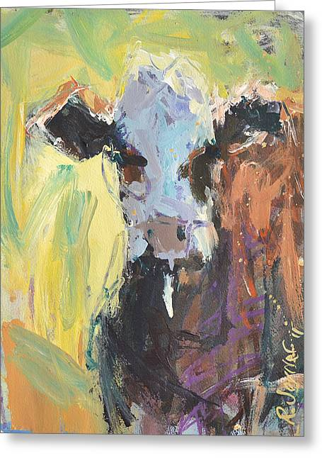 Greeting Card featuring the painting Expressive Cow Artwork by Robert Joyner