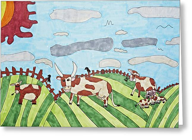 Family On Green Pastures Greeting Card