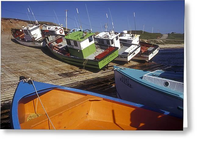 Fishing Boats - Magdalen Islands Greeting Card by Carol Barrington