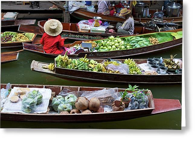 Floating Market Greeting Card by Jirawat Cheepsumol