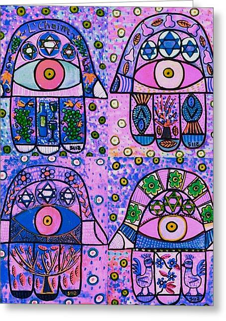 Four Pink Hamsa Greeting Card by Sandra Silberzweig