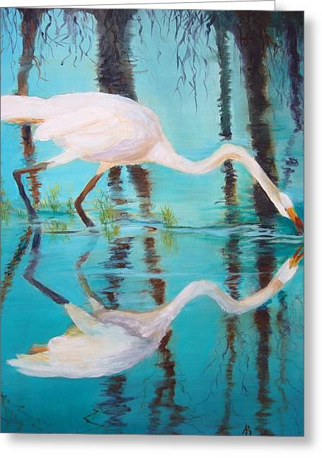 Greeting Card featuring the painting Fowl Fishing by AnnE Dentler