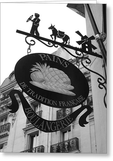 French Bakery Sign - Black And White Greeting Card by Carol Groenen