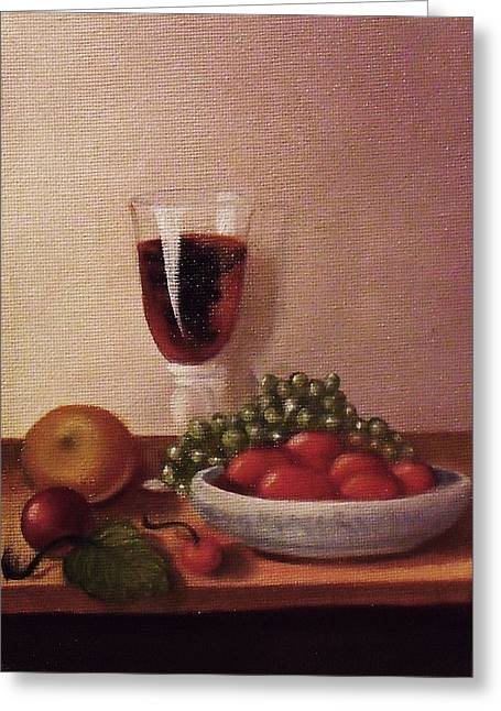 Fruit  And  Wine   A Greeting Card by Helen Thomas