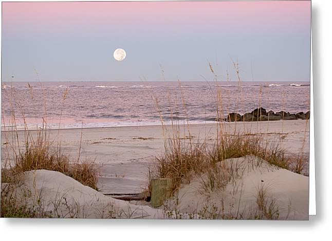 Full Moon Over Folly Beach Greeting Card by Vanessa Kauffmann